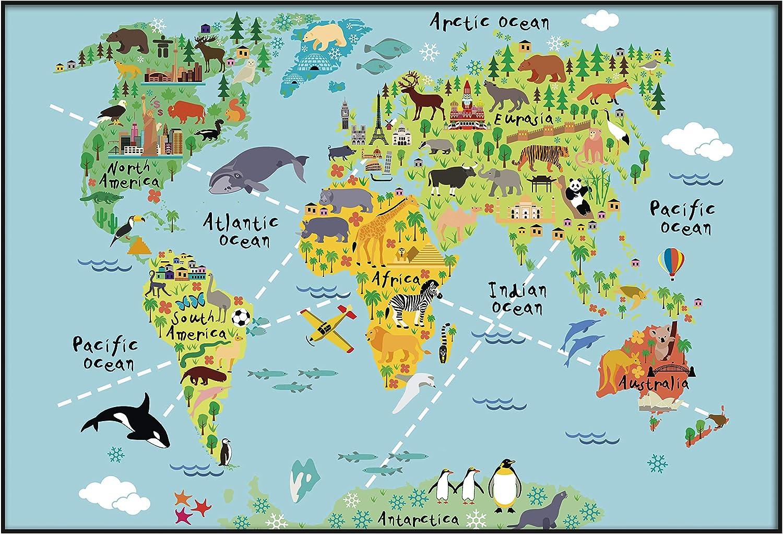 Panorama Póster Infantil para habitación Mapa Mundi Niños Animal 30x21cm - Impreso Papel 250g - Láminas para Enmarcar - Cuadros Infantiles - Cuadros para habitación bebés - Decoración habitación bebé: Amazon.es: Hogar