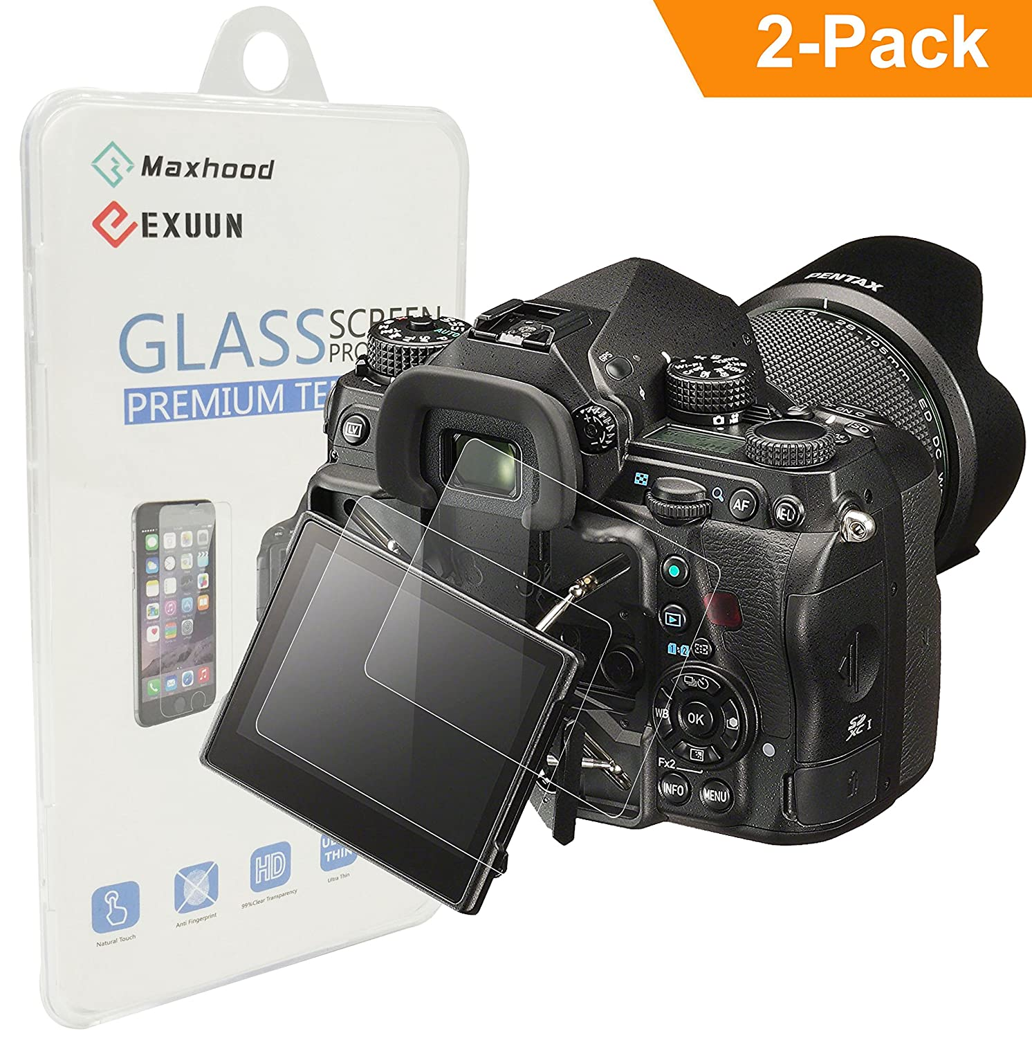 (2-Pack) Pentax K-1/Pentax K-1 Mark II/Nikon D5600 Tempered Glass Screen Protector, Exuun Optical 9H Hardness 0.3mm Ultra-Thin DSLR Screen Protector Glass for Pentax K-1/K-1 Mark II Nikon D5600 4332104629