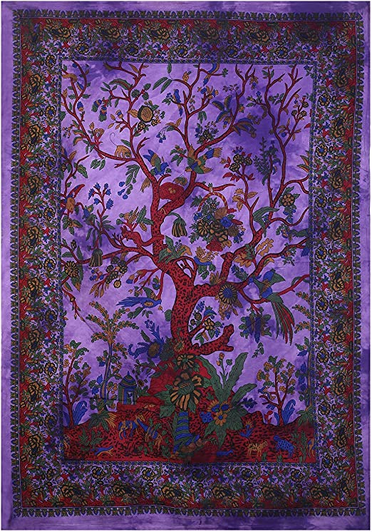 ANOKHI ART Green Tree of Life Mandala Tapestry Cotton Indian Wall Decor Hippie Tapestries Bohemian Wall Hanging Throw 85x55 Inches