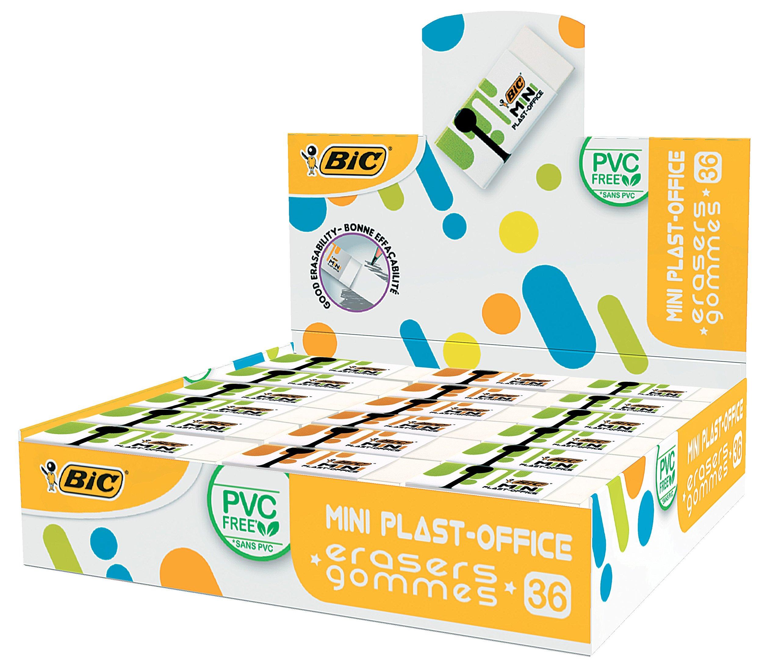 Bic 939376Eraser Mini Plastic Office, No PVC, 41× 18.5x 11.5mm; 36)
