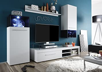 black white entertainment center tv stand wall unit european furniture - White Entertainment Center Wall Unit