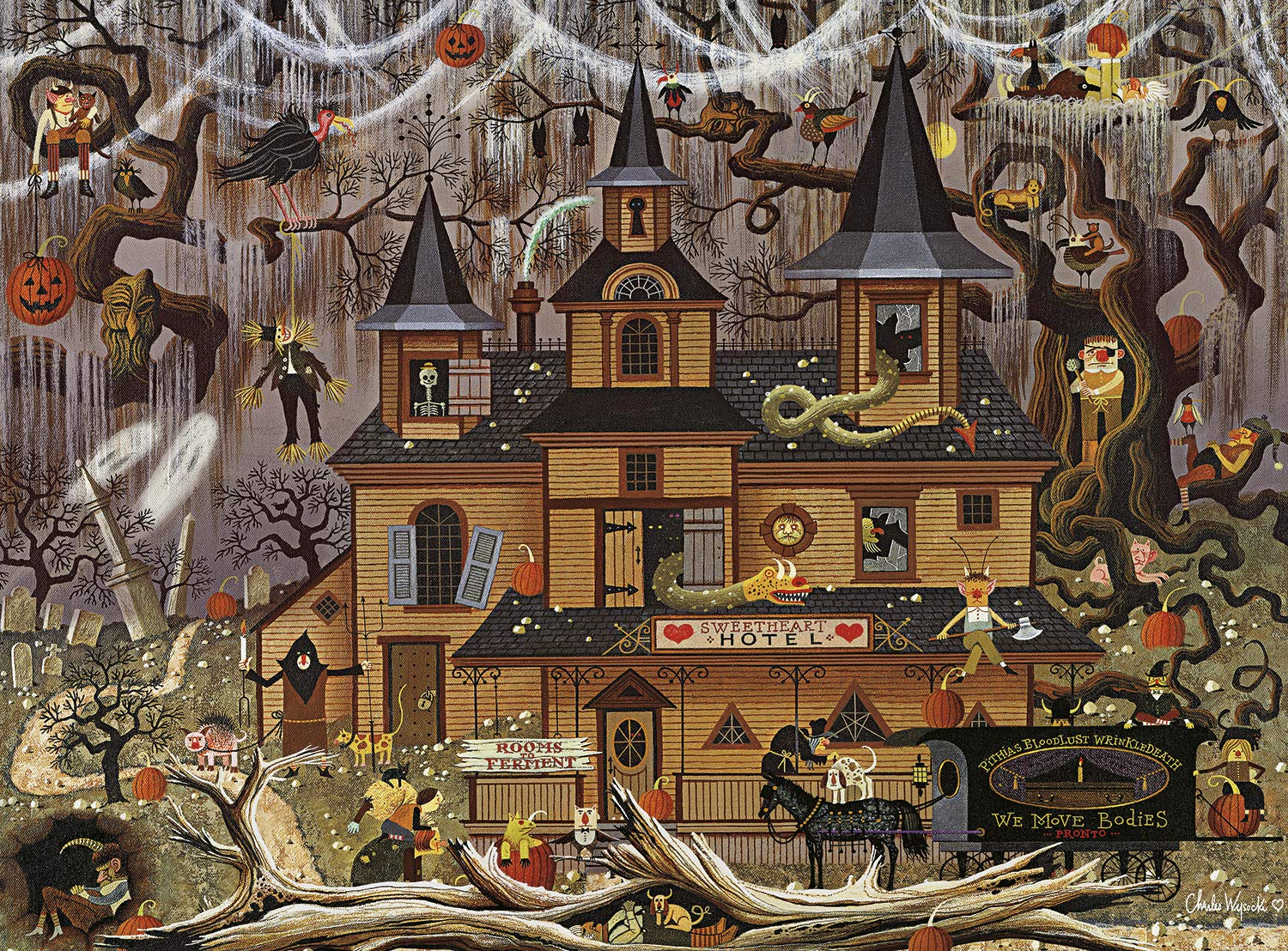 Buffalo Games - Charles Wysocki - Trick Or Treat Hotel - 1000 Piece Jigsaw Puzzle by Buffalo Games