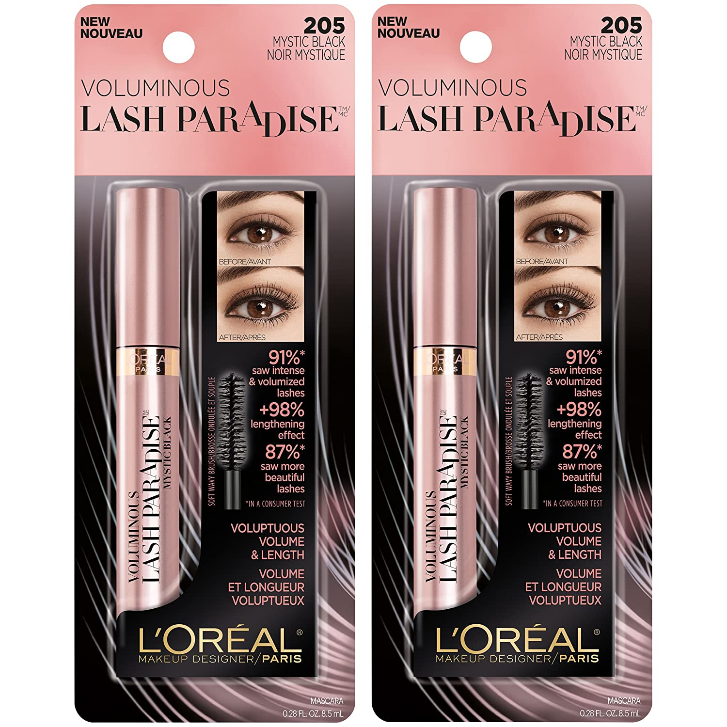 cf96e4511c8 Amazon.com : L'Oreal Paris Makeup Lash Paradise Mascara, Voluptuous Volume,  Intense Length, Feathery Soft Full Lashes, No Smudging, No Clumping, ...