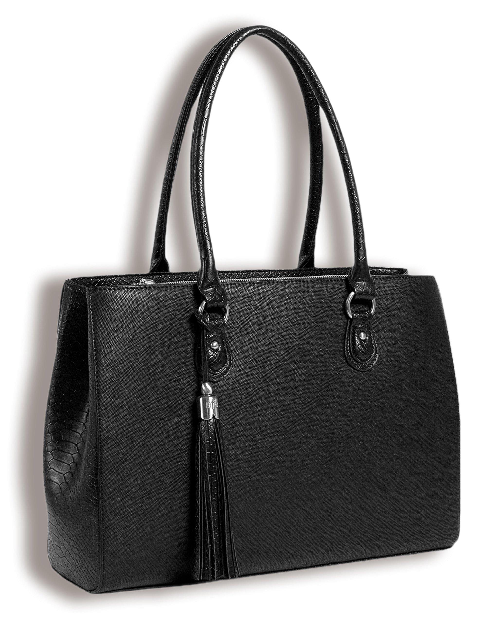 BfB Laptop Tote and Tablet Bag – Lightweight Handmade Designer Work Tote - BLACK