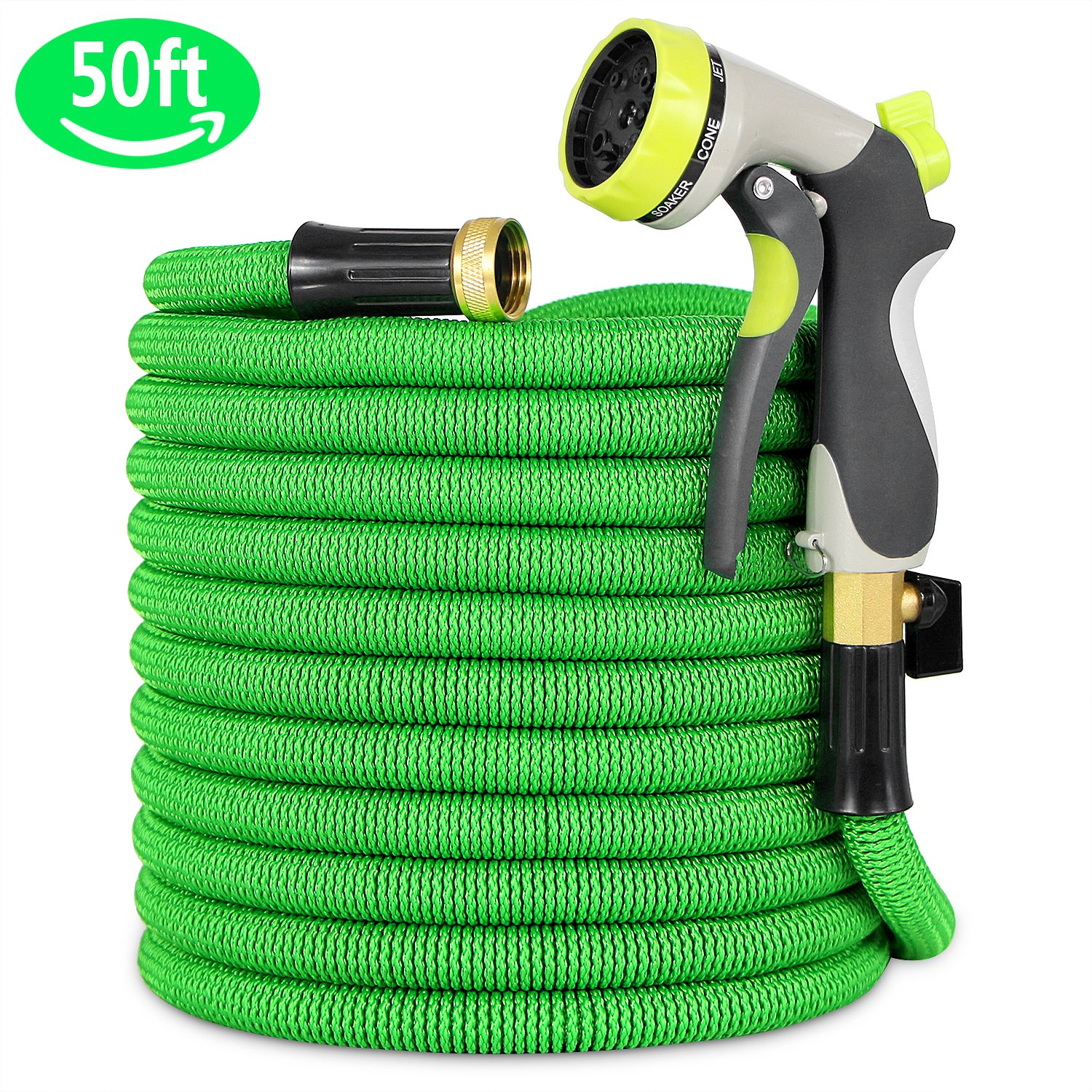 Garden Hose, 50ft Green Lightweight Expandable Water Hose, Expanding Hose with 8 Fuction Nozzle Sprayer, Solid Brass Connector, Double Latex Inner Tube, for Car Washing, Garden Watering