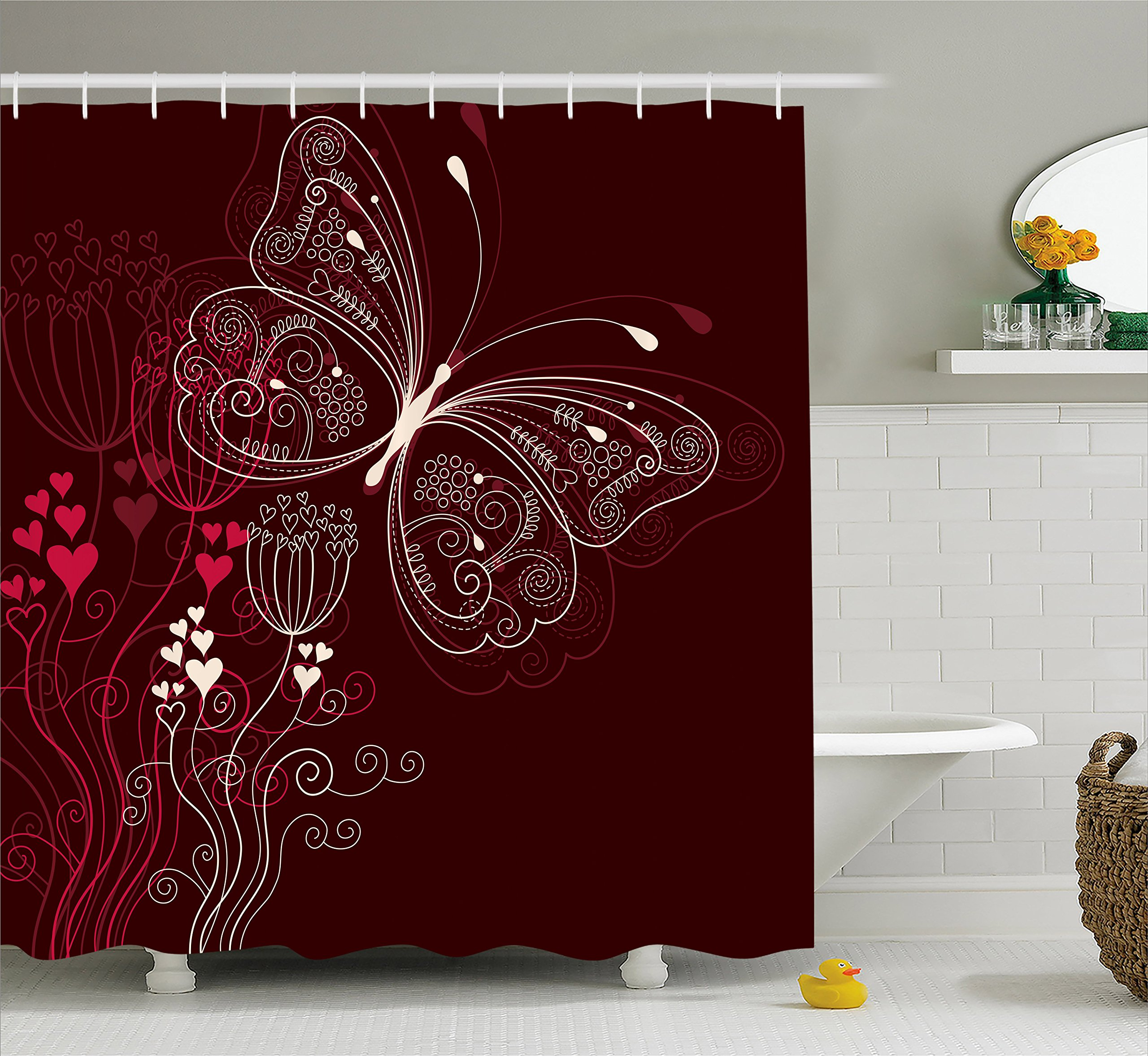 Ambesonne Romantic Shower Curtain, Abstract Floral Heart Pattern with Butterfly Motif Romantic Illustration, Cloth Fabric Bathroom Decor Set with Hooks, 84 Inches Extra Long, Maroon Red Beige