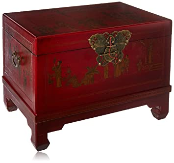 Delicieux Oriental Furniture Red Lacquer Small Trunk
