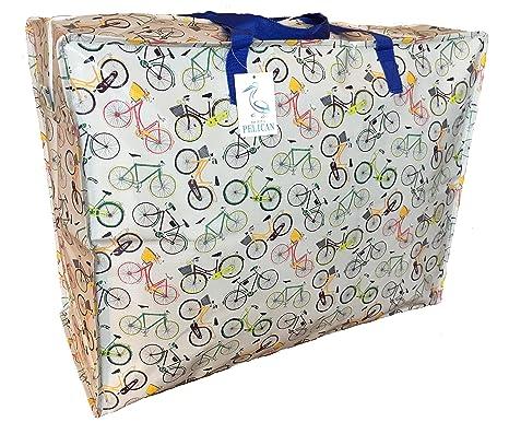 Alta calidad grande 65 litros bolsa de almacenamiento. Gris con bicicletas Impresión. Resistente y duradero con cremallera bolsa.