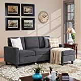 Walsunny Convertible Sectional Sofa Couch with Reversible Chaise, L-Shaped Couch with Modern Linen Fabric for Small Space (Da