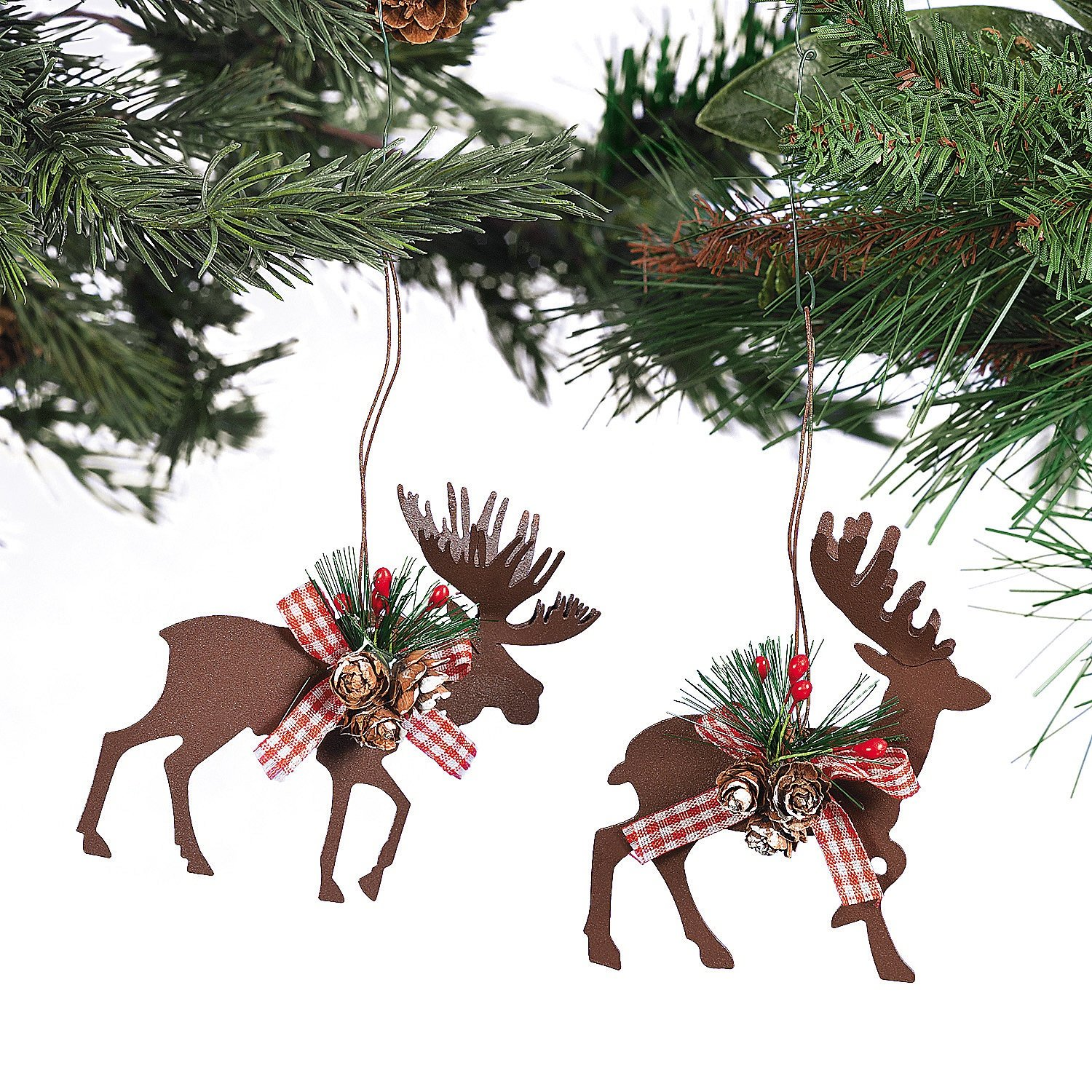 Metal Die Cut Moose & Deer Christmas Ornaments - (6 Pcs./set) 3 1/2 X 4 Fun Express 95/3751