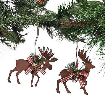 Amazon.com: Metal Die Cut Moose & Deer Christmas Ornaments - (6 ...