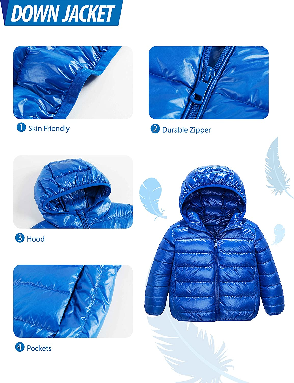 IKALI Kids Down Coats 2-12Y Spring Light Weight Packable Puffer Jacket with Hood Pockets for Girls Boys Outwear Clothes