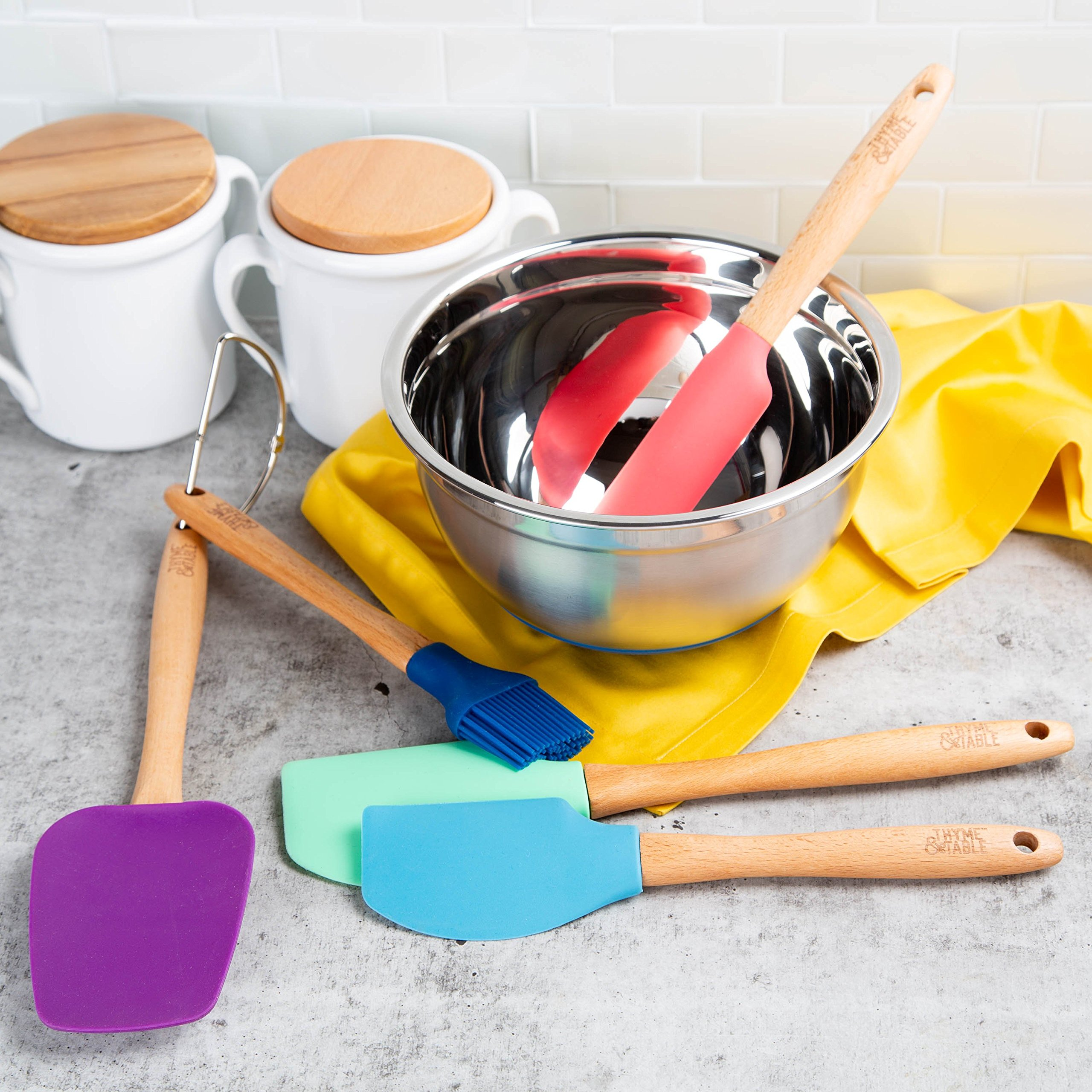 Thyme & Table Kitchen 6 Piece Set - 5 Pieces Silicone and Beechwood Set with Stainless Steel Mixing Bowl