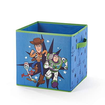 "Idea Nuova Toy Story 4 Collapsible Storage Cube Featuring Buzz Lightyear, Woody & Forky, 12""X12"", Blue: Toys & Games"
