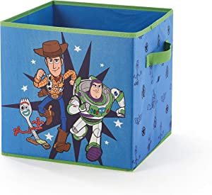 "Idea Nuova Toy Story 4 Collapsible Storage Cube Featuring Buzz Lightyear, Woody & Forky, 12""X12"", Blue"