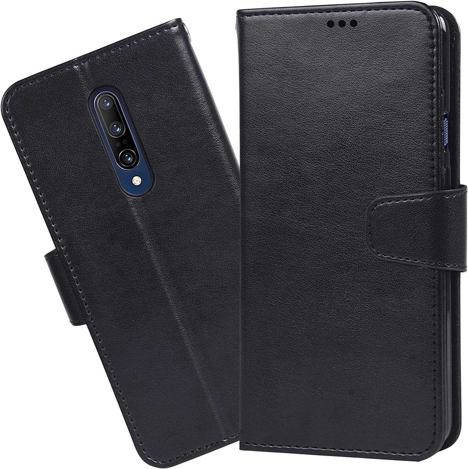 Black Arae PU Leather Wallet case for OnePlus 7 Pro with Wrist Strap and ID/&Credit Cards Pocket OnePlus 7 Pro Case