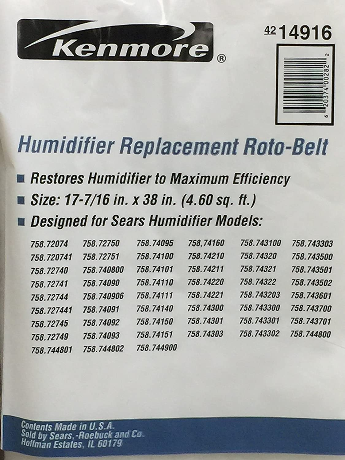 14ed433ce8db Kenmore Humidifier Replacement Roto-Belt No, 42-14916