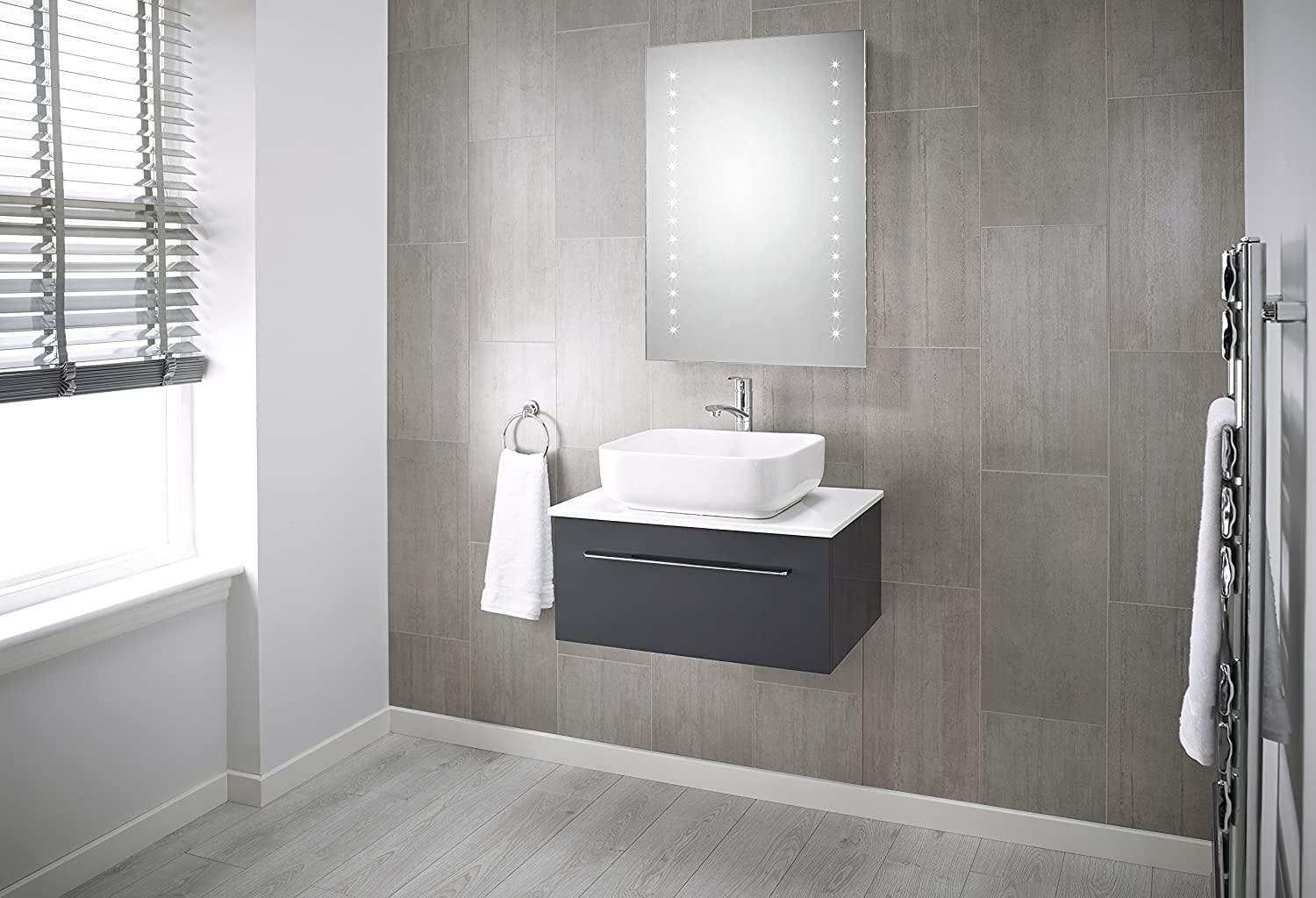 Pebble Grey 600 x 800 mm Bathroom Mirror Ariel LED Illuminated ...