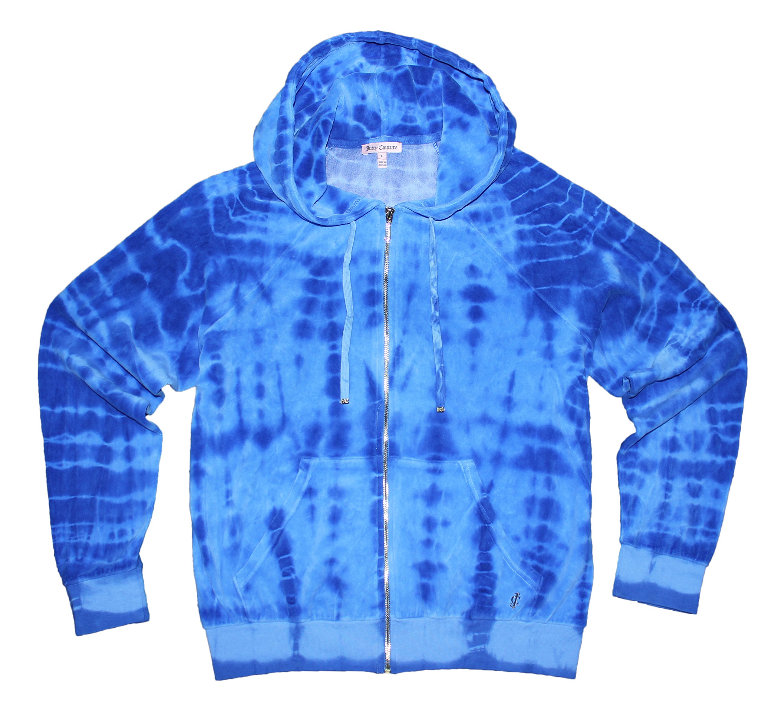 Juicy Couture Womens Tie Dye Degrade Relax Velour Hoodie (X Large, Blue heaven)