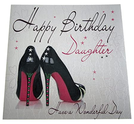 White Cotton Cards Wb51 Shoes Happy Birthday Daughter Handmade