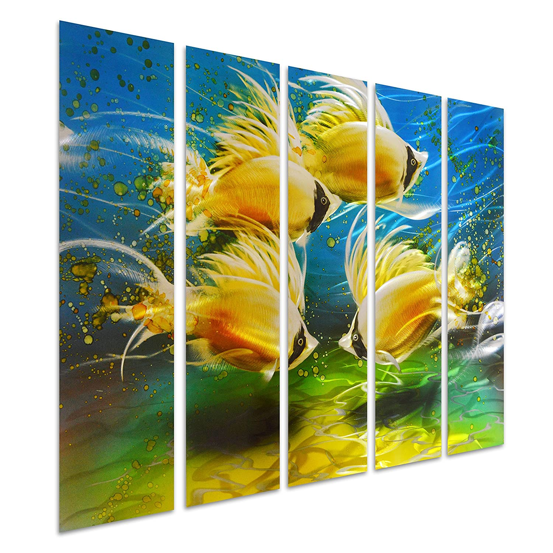 Amazon.com: Pure Art Tropical Fish at Sea - Nautical Metal Wall Art ...
