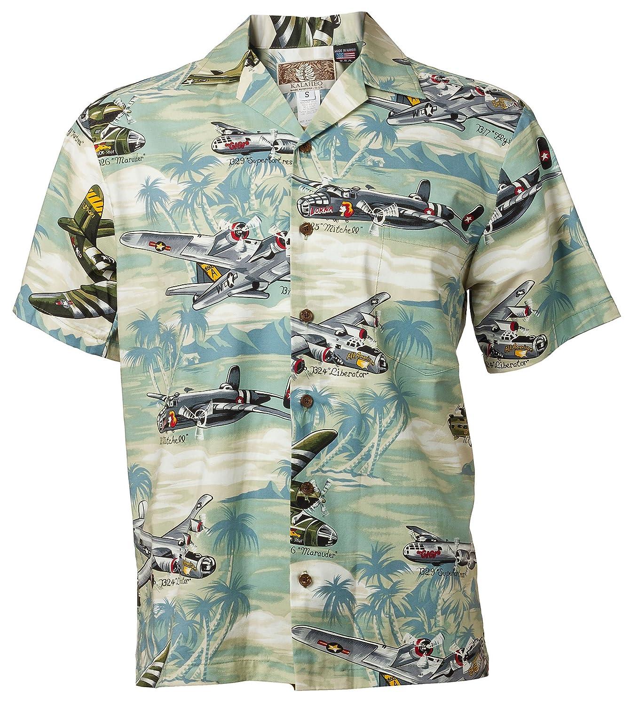 237176d1 Hawaiian Shirt Sea Foam with Airplanes at Amazon Men's Clothing store: