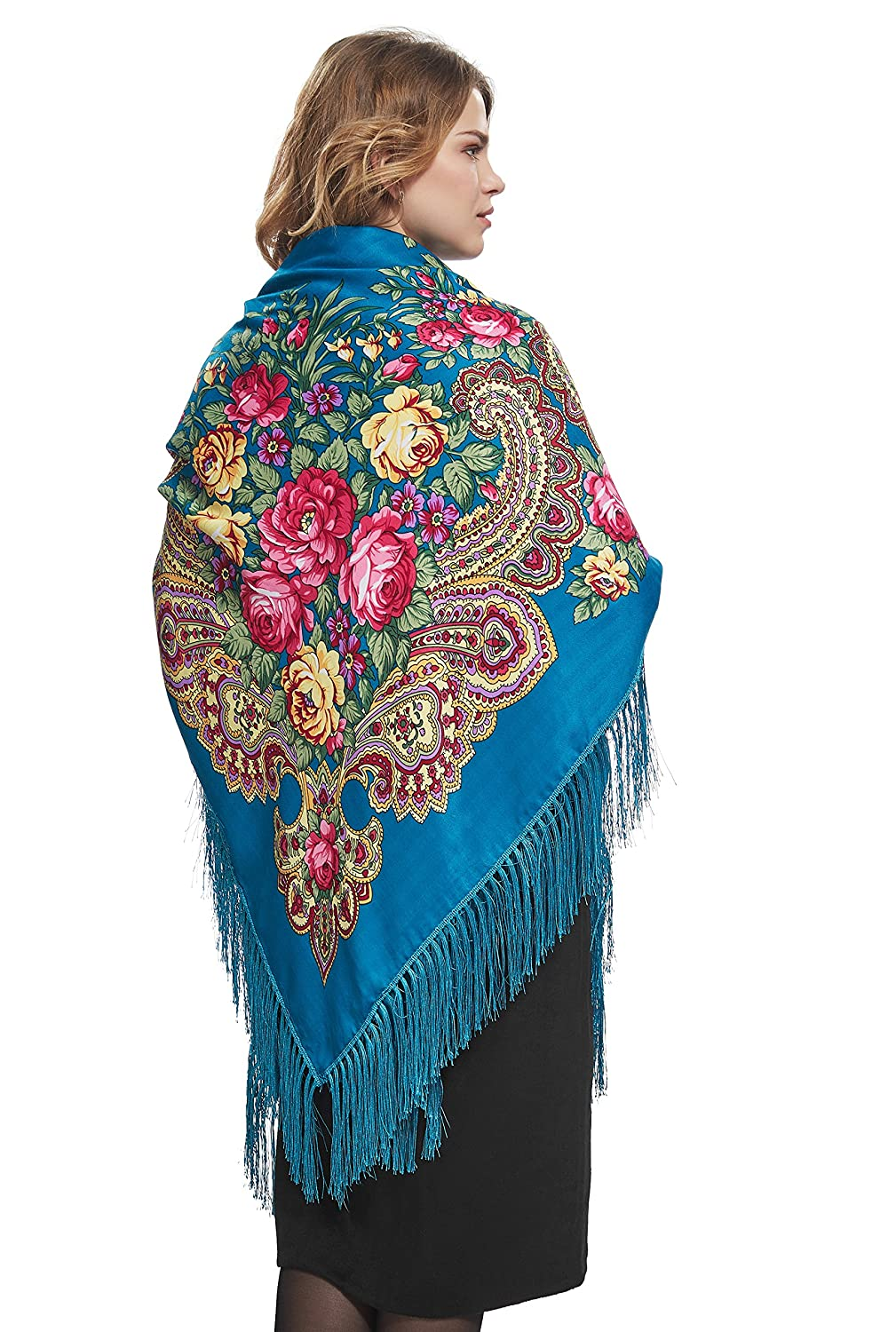 Shawls & Wraps | Vintage Lace & Fur Evening Scarves Ladies Oversized Floral Shawl With Tassels Ukrainian Polish Russian Wrap 51 x 51