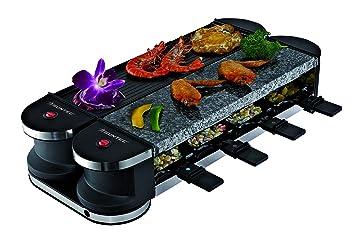 SUNTEC Raclette RAC-8069 Flex 8 metal/stone [Für 8 Personen, Steinplatte & Grill, 180° auf-/zuklappbar durch innovative Drehg