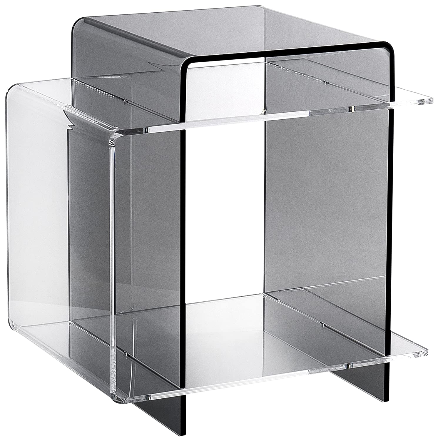 iplex design 70 39 s comodino tavolino in plexiglass fum trasparente trasparente ebay. Black Bedroom Furniture Sets. Home Design Ideas