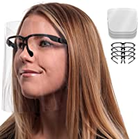 TCP Global Salon World Safety Face Shields with Black Glasses Frames (Pack of 4) - Ultra Clear Protective Full Face…