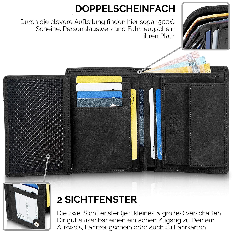 6bd332e099880 Dunkelbraun Soft Geräumiger Geldbeutel im Hochformat GenTo® Herren  Geldbörse Dublin Design Germany … TÜV geprüfter RFID NFC Schutz