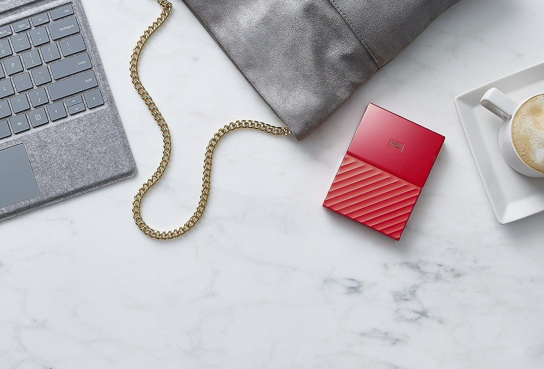 2To Rouge WD Disque dur externe portable USB 3.0 avec sauvegarde automatique et s/écurisation par mot de passe My Passport
