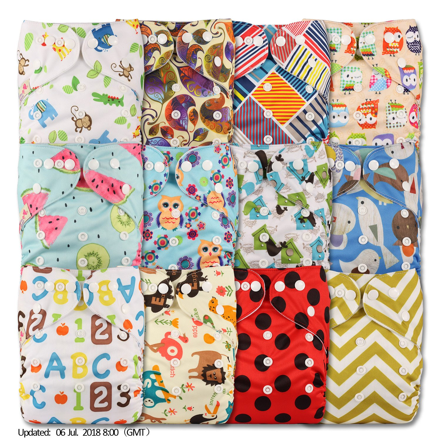 with 12 Bamboo Charcoal Inserts Littles /& Bloomz Set of 12 Patterns 1207 Reusable Pocket Cloth Nappy Fastener: Popper