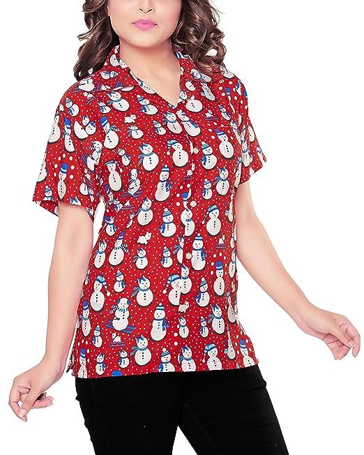 CLUB CUBANA Blusa Camisa XMAS Christmas casual manga corta ajustado para mujer S