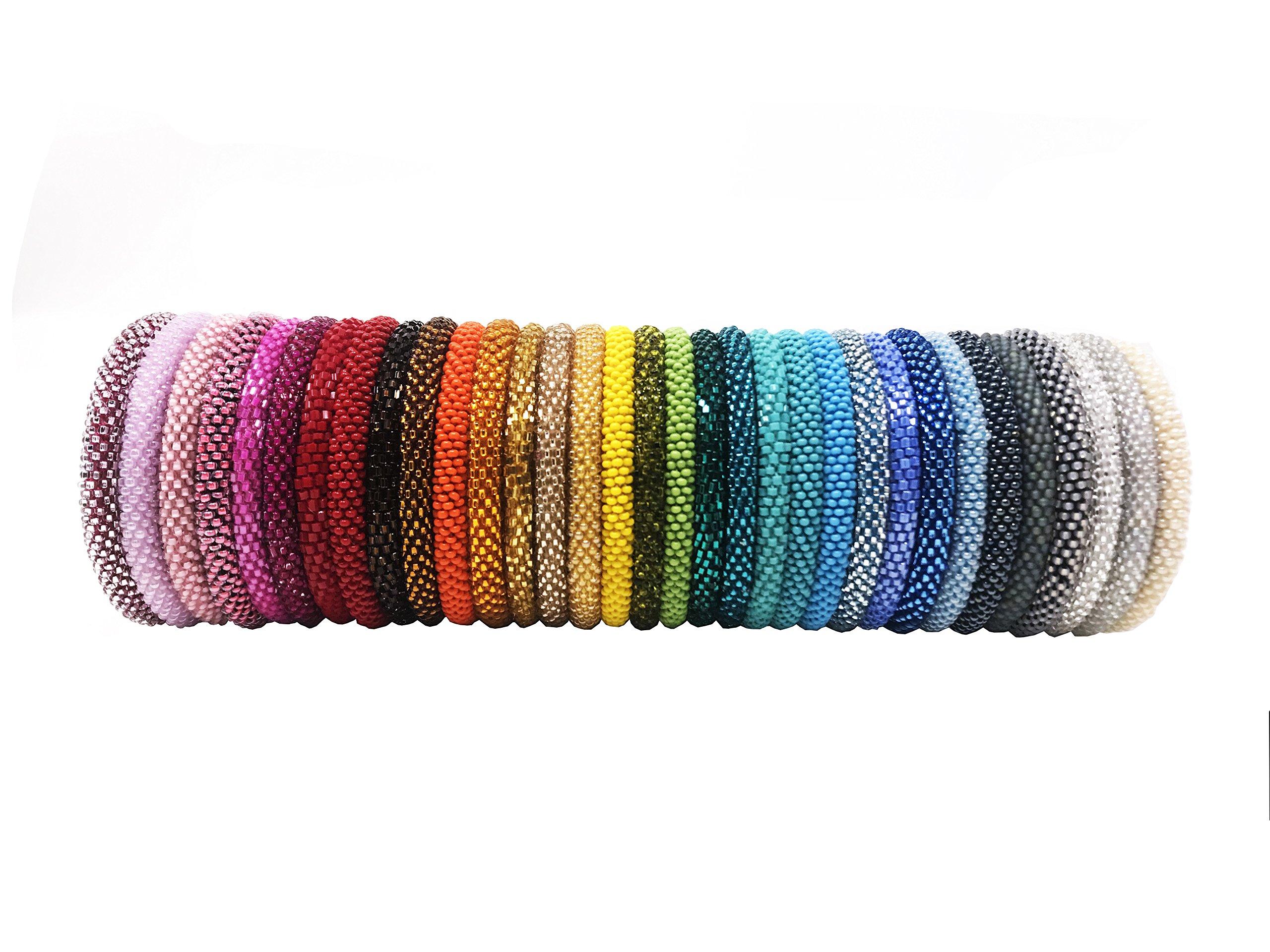 Wigspedia Handmade Crochet Glass Seed Bead Nepal Roll on Boho Bracelet - Wholesale Solid Bracelets (12 Pieces Solid Bracelets)