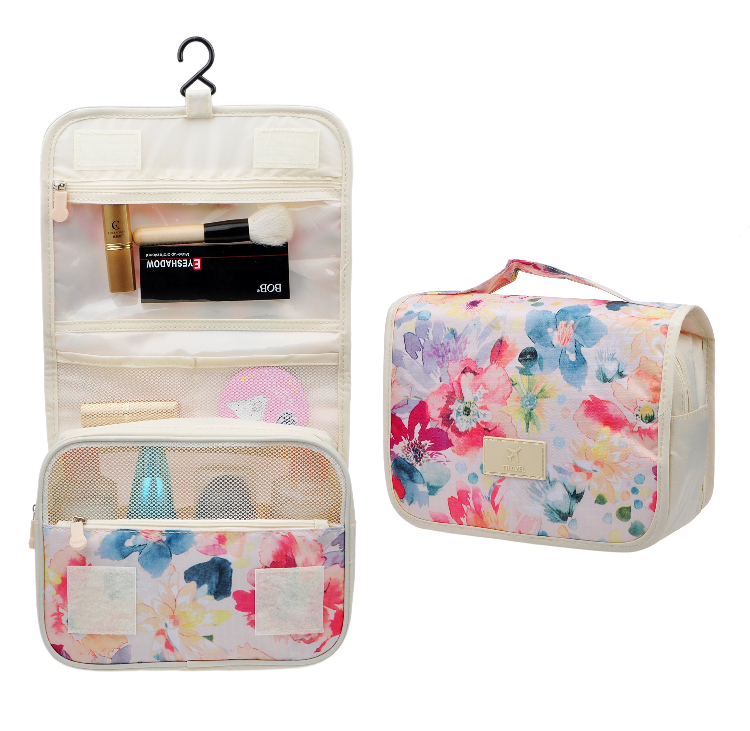 Cosmetic Makeup Bag Case,Hanging Toiletry Bag,Travel Organizer Travel Kit For Women Men (Flower Spring)