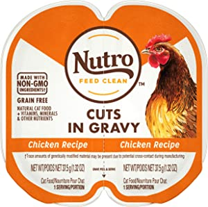 NUTRO Grain Free Natural Soft Wet Cat Food Cuts in Gravy Chicken Recipe, (24) 2.6 oz. PERFECT PORTIONS Twin-Pack Trays
