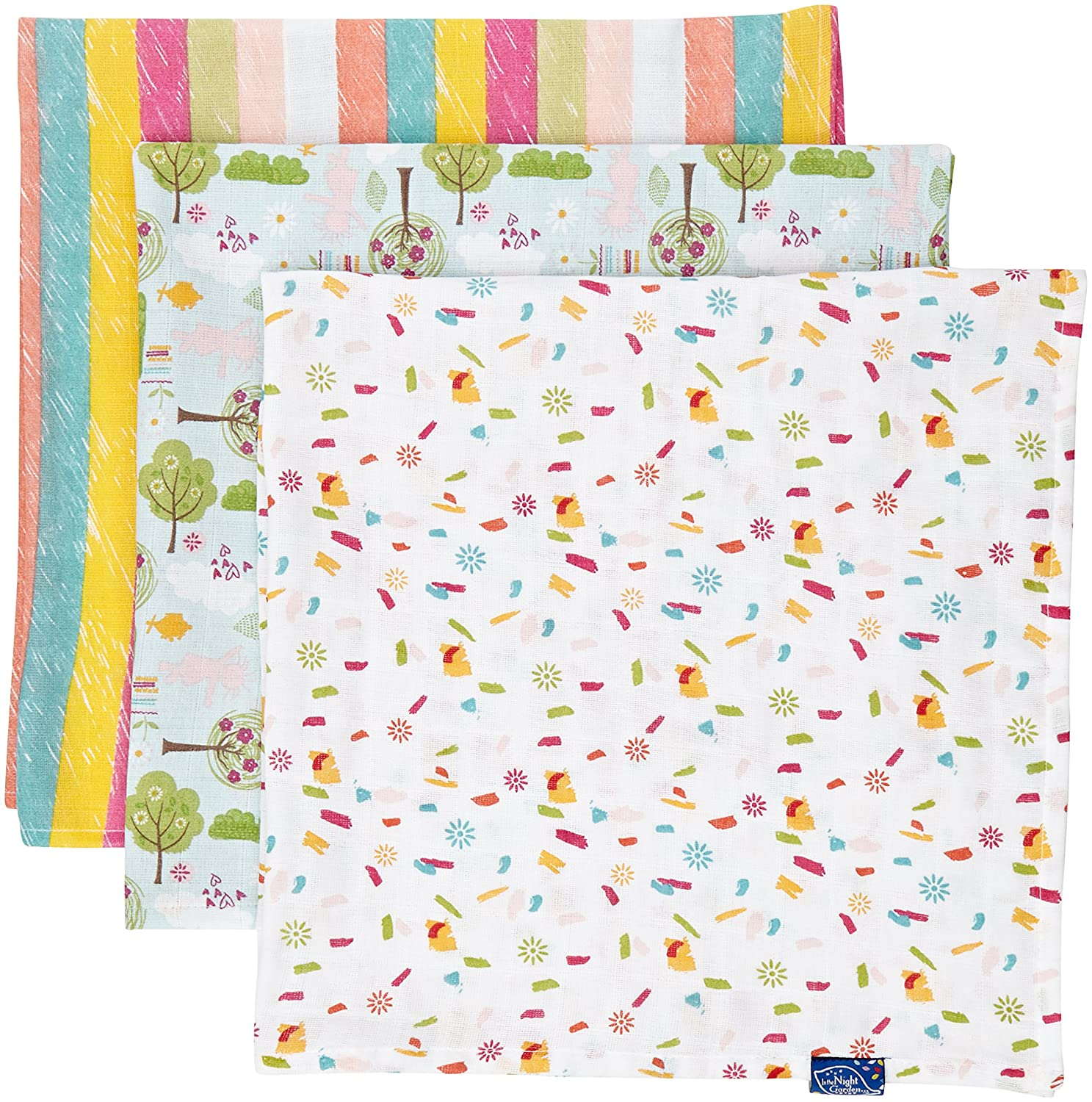 In the Night Garden Baby-Boys Itng Muslin Set of 3 Scarf Pink (Pink/Yellow) One Size 06181