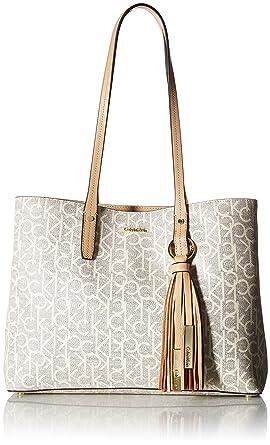 bb5cbf11fefa76 Amazon.com: Calvin Klein womens Calvin Klein Maggie Monogram Signature  East/West Tote, cream, One Size: Clothing