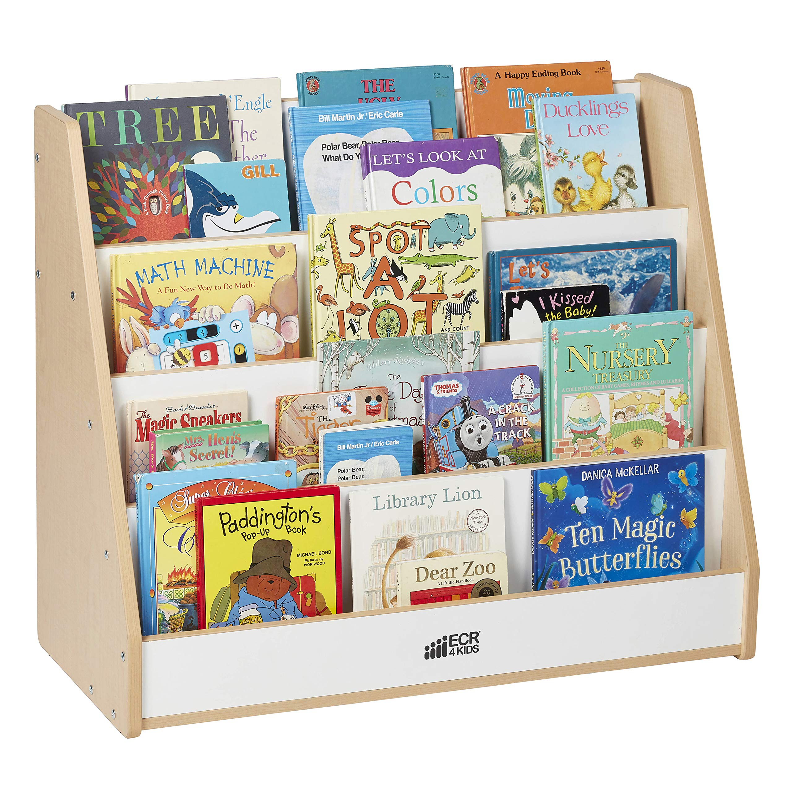 ECR4Kids Colorful Essentials 4-Tier Book Display Stand, White and Maple by ECR4Kids (Image #4)