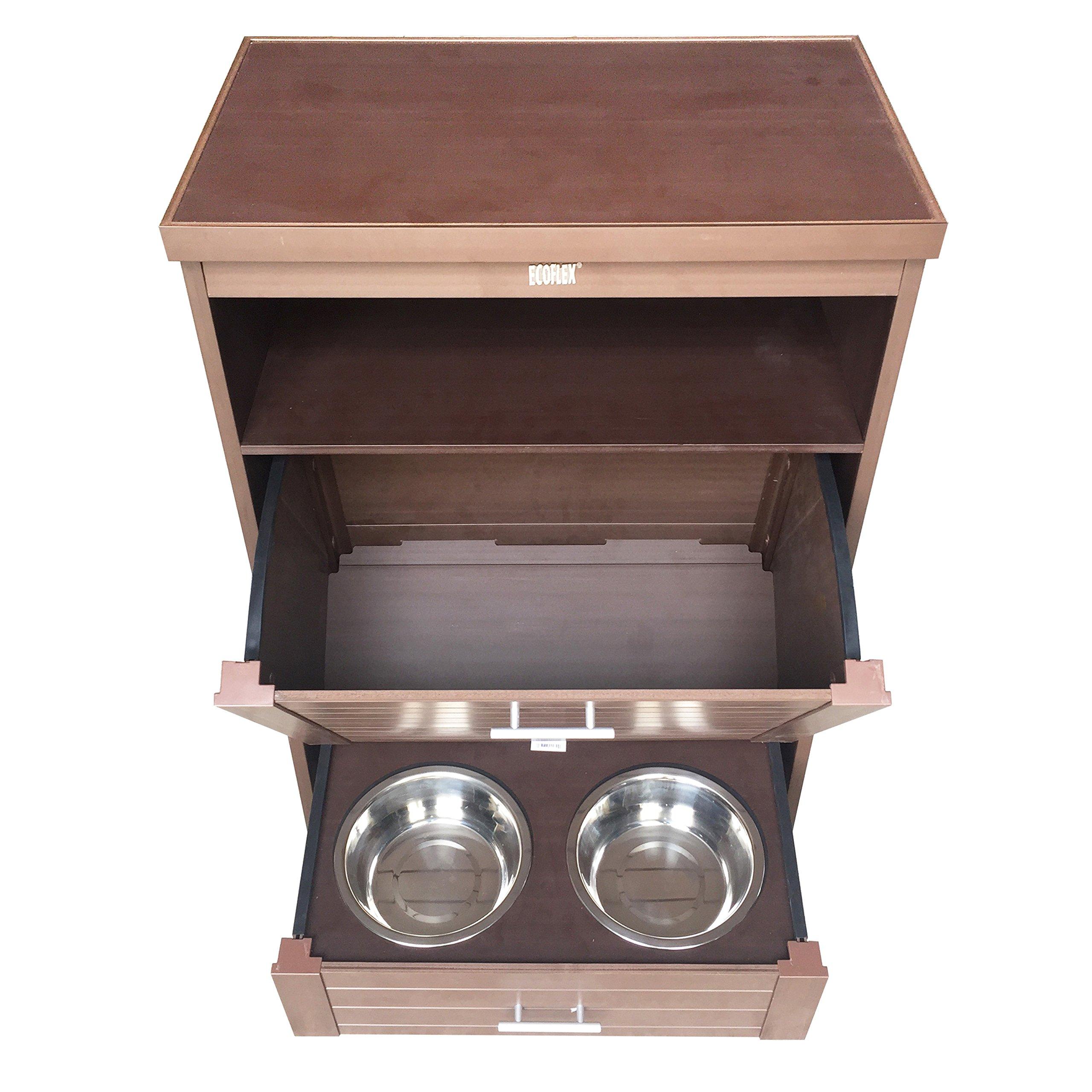 New Age Pet ecoFLEX Dog Food Pantry/Double Dog Bowl, Russet