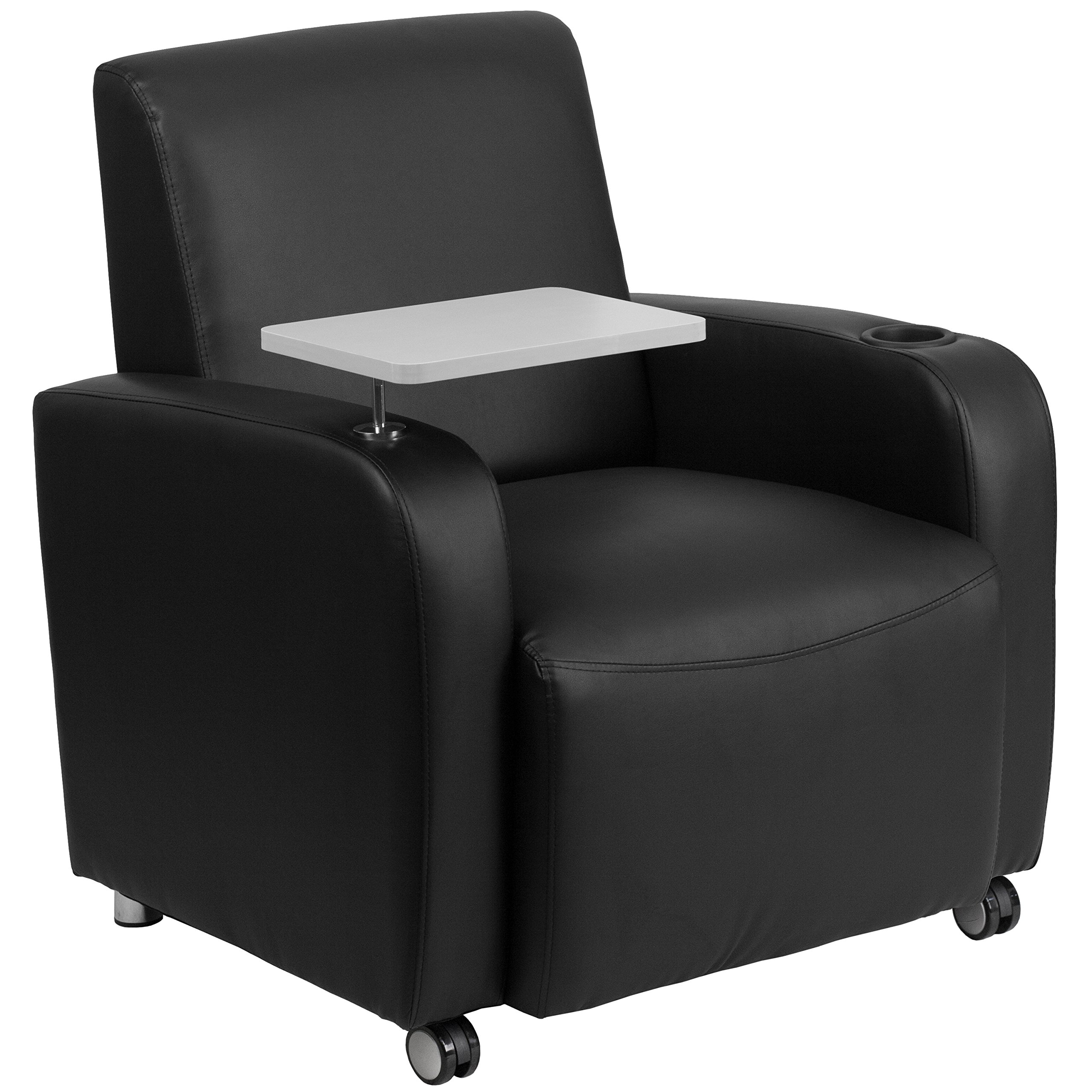 Flash Furniture Black Leather Guest Chair with Tablet Arm, Front Wheel Casters and Cup Holder by Flash Furniture