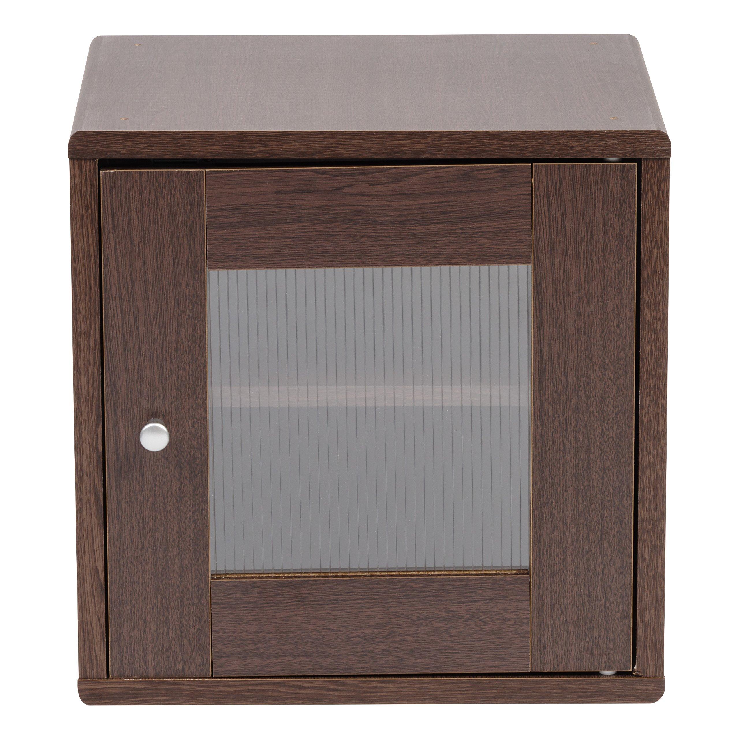 IRIS USA, QR-34PDT, Wood Storage Cube with Window Door, Brown Oak, 1 Pack by IRIS USA, Inc. (Image #2)