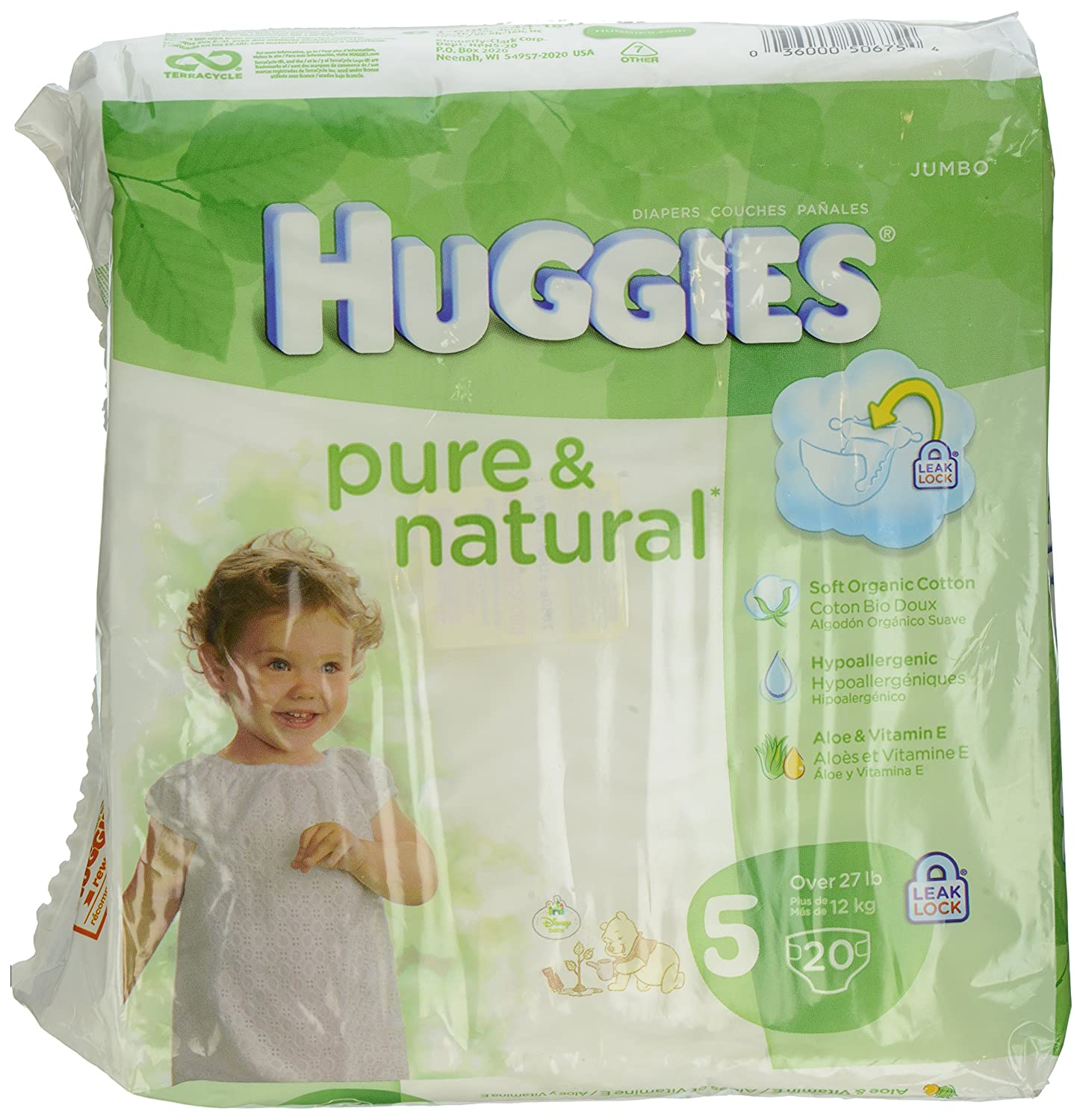 Amazon.com: Huggies Pure and Natural Diapers, Size 5, 20 Count: Prime Pantry