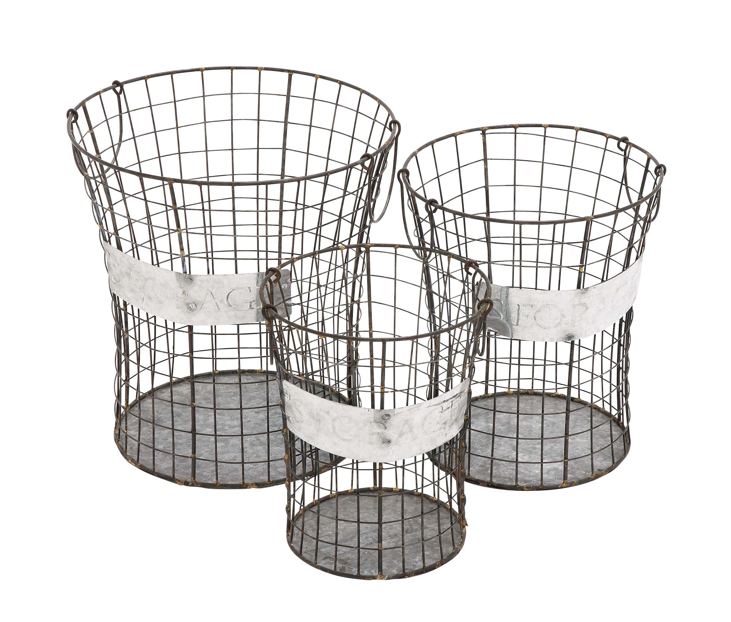 Deco 79 49133 Metal Wire Storage Basket (Set of 3), 16''/14''/12''