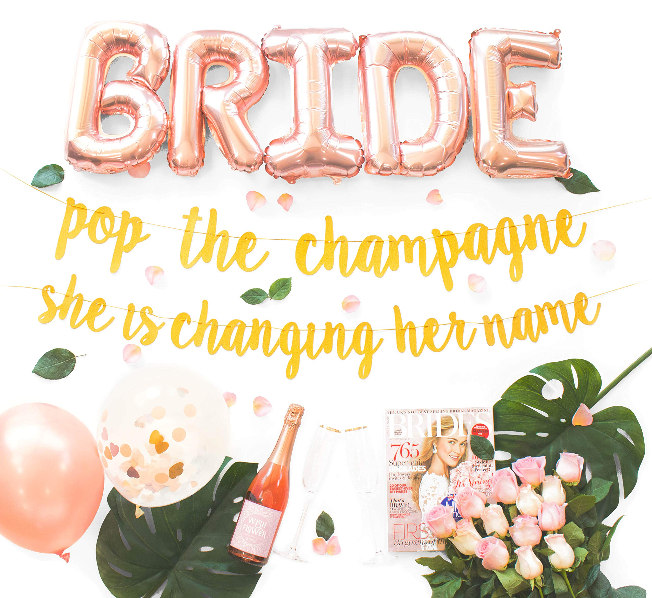 Malibu Moments Bachelorette Party Decorations Kit | Bridal Shower Supplies | Bride to Be Sash, Ring Foil, Rose Balloons, Gold Glitter Banner | Pop The Champagne She is Changing Her Name by Malibu Moments