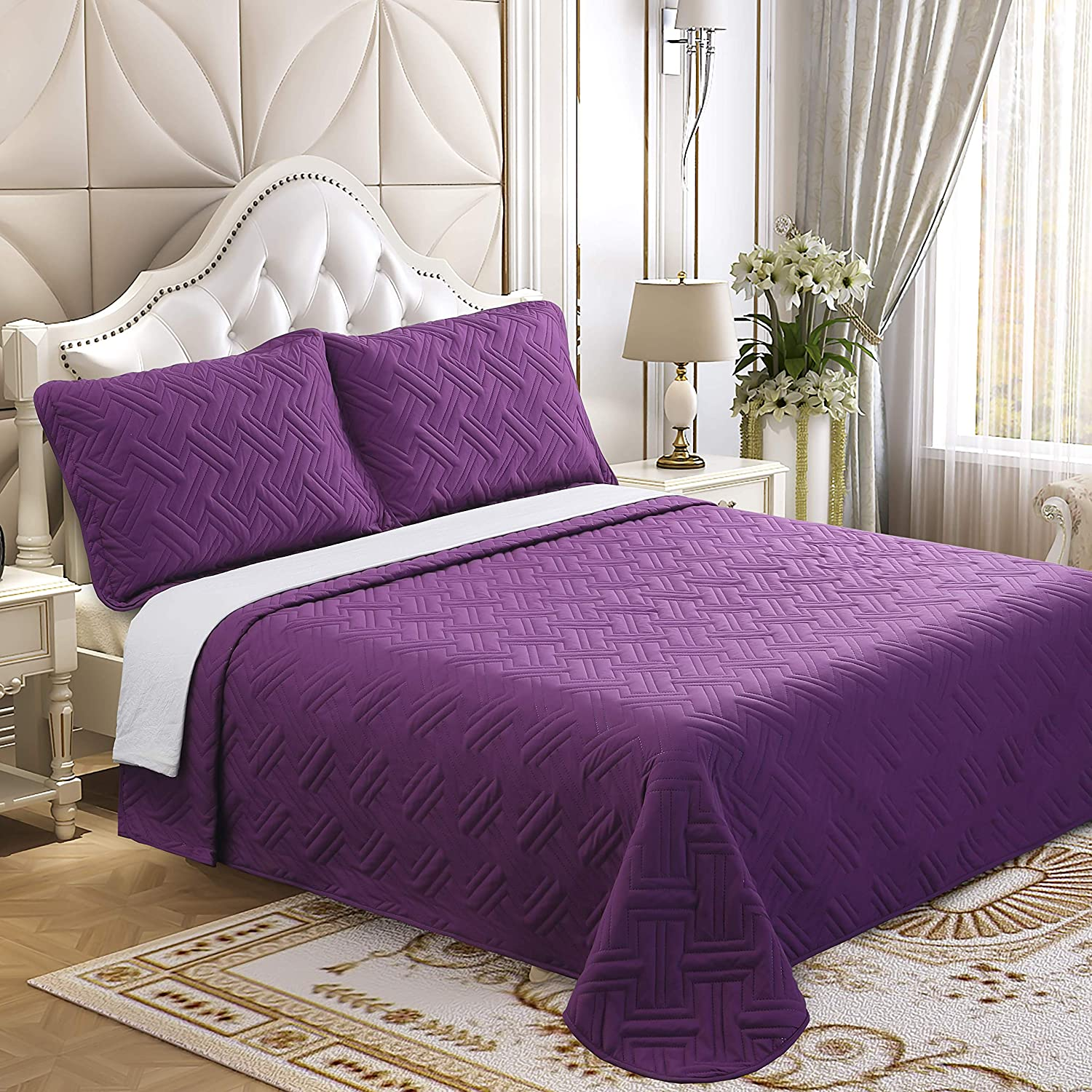 Lorient Home Embroidered Quilt Microfiber Oversized Twin Quilt Soft as Cotton