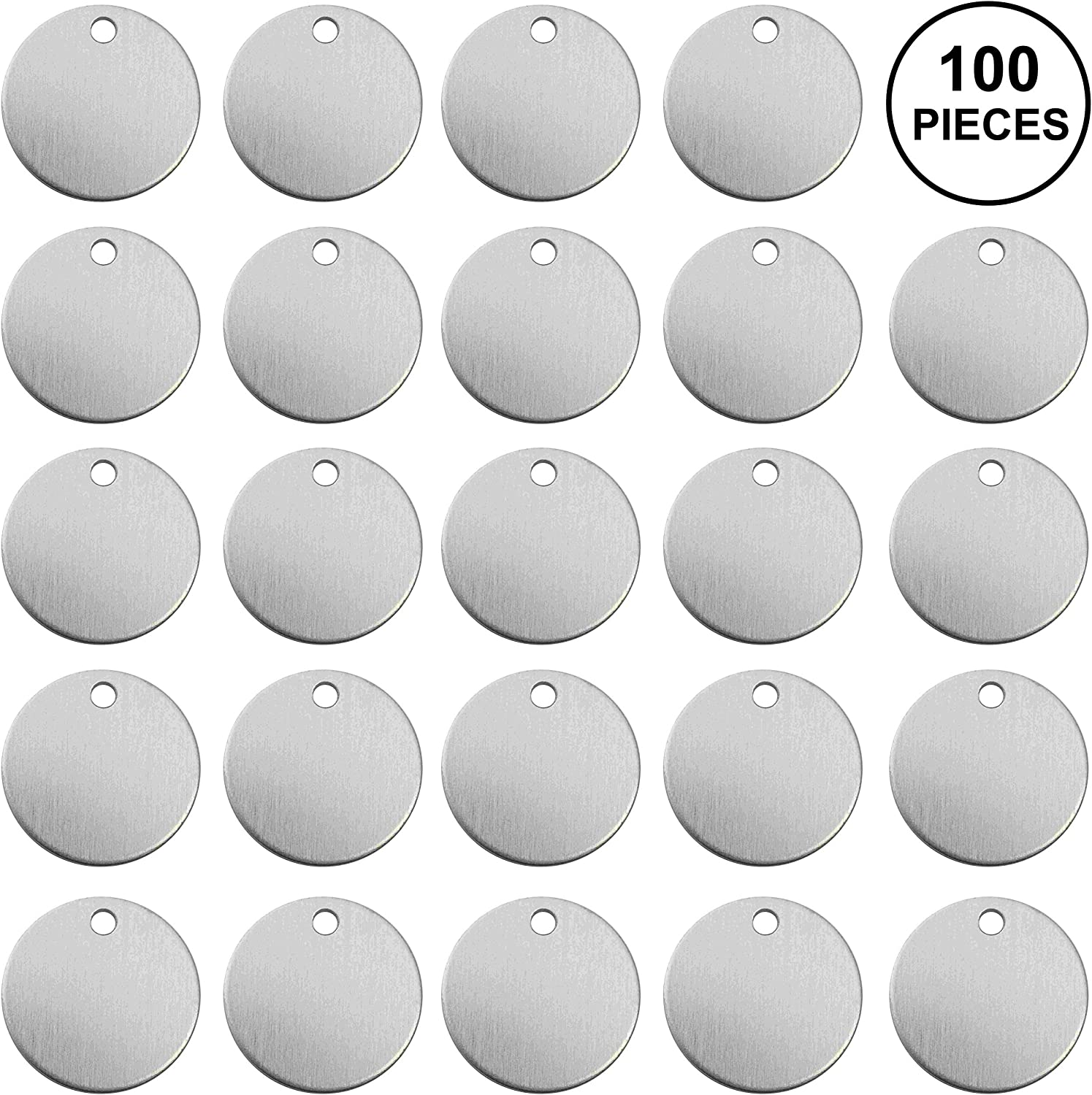 "100 Pieces Aluminum Stamping Blanks by Craftbox. 1-Inch Round with Hole,12-Gauge (0.08"" Thick). Soft Temper, Deeper Impressions. Includes Cute Plastic Storage Case 91VVyOa84LL"