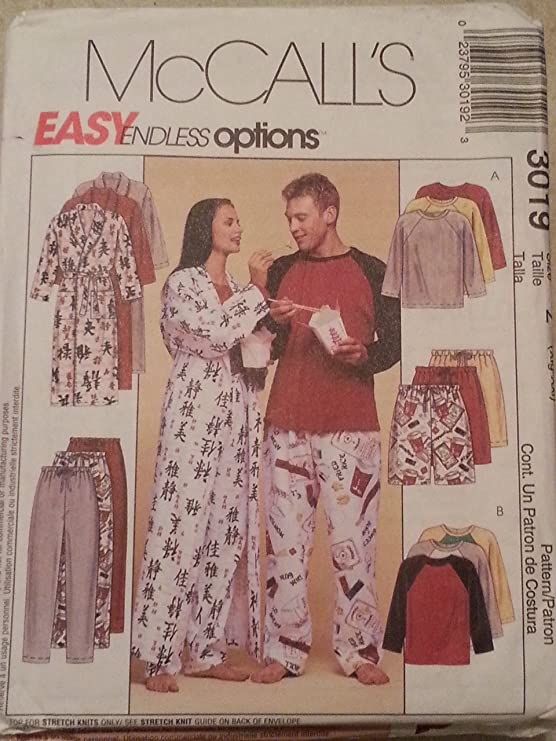Shorts McCall/'s 4724 Unisex Robe Top Pants and Slippers  Sewing Pattern