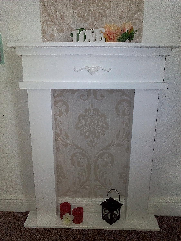 Cornice per camino, camino decorativo, colore: bianco, profondità: 12cm, realizzato a mano Wolkenstube